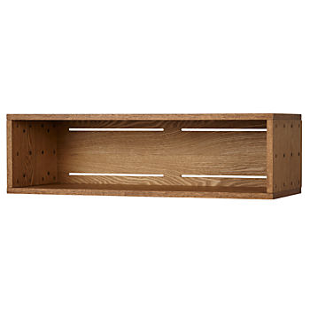 Large Wood Veneer Cubby Narrow Wall Shelf