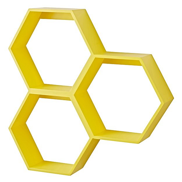 Honeycomb Wall Shelf (Yellow)