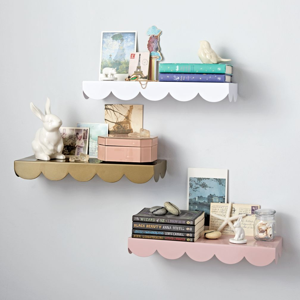 Simple scallop wall shelf the land of nod amipublicfo Gallery
