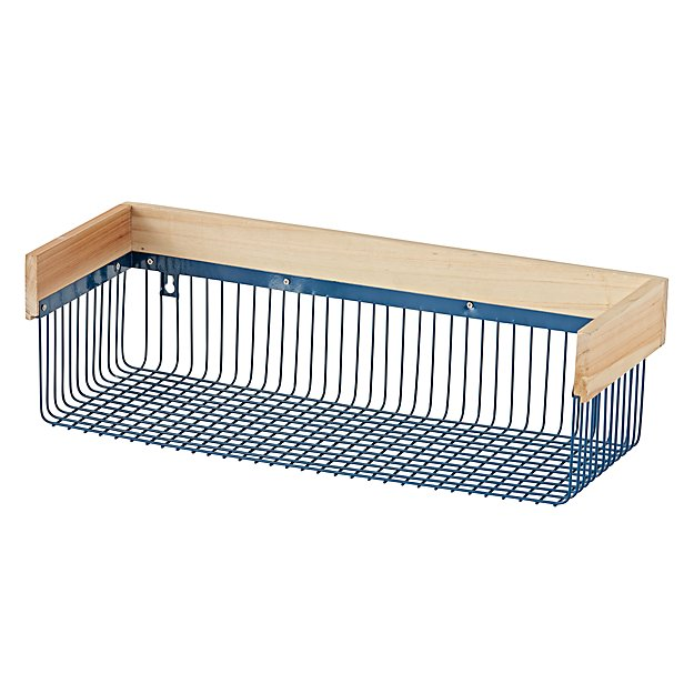 Wood and Wire Blue Shelf
