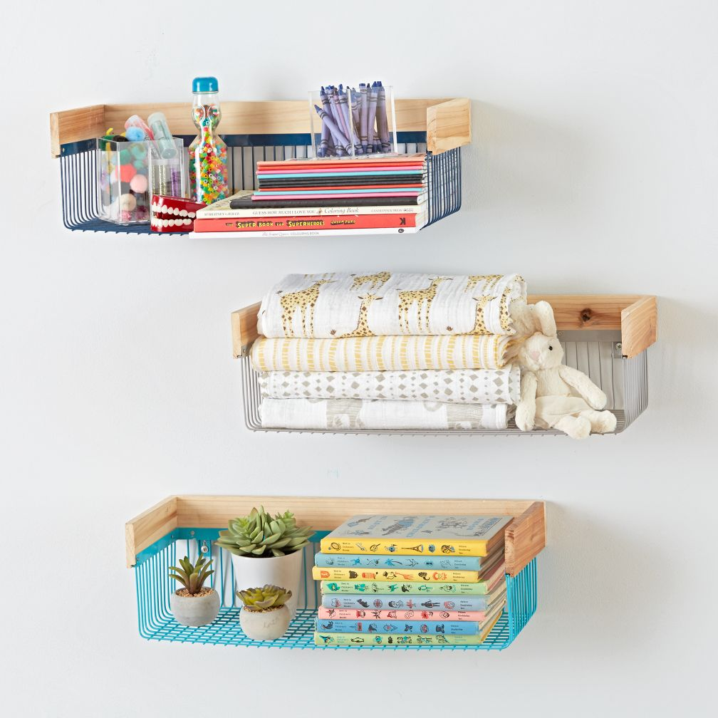 Kids shelves wall cubbies the land of nod wood and wire shelf amipublicfo Images