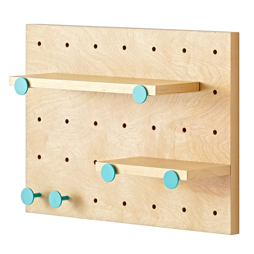 Pegboard and Shelves With 6 Aqua Pegs