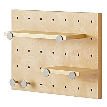 Pegboard and Shelves With 6 Grey Pegs