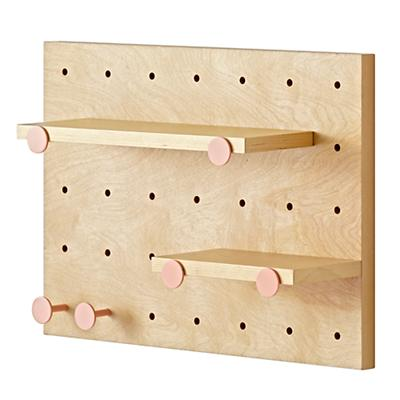 Pegboard and Shelves With 6 Pink Pegs