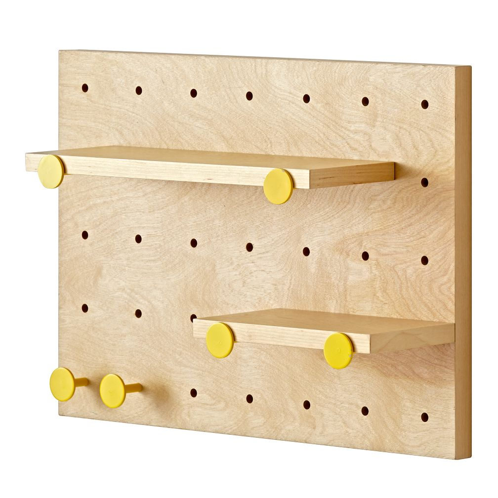 Pegboard and Shelves With 6 Yellow Pegs