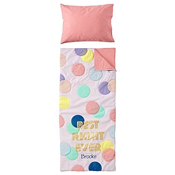 Party Polka Dot Personalized Toddler Sleeping Bag and Pillowcase