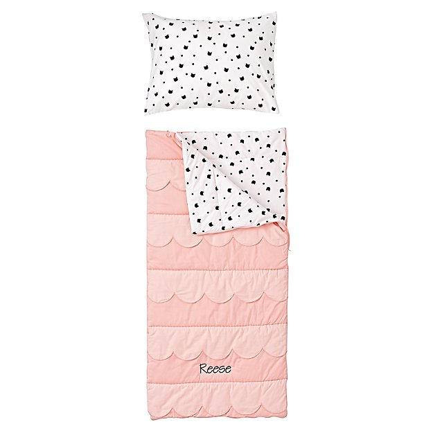 Scalloped Personalized Pink Toddler Sleeping Bag and Pillowcase