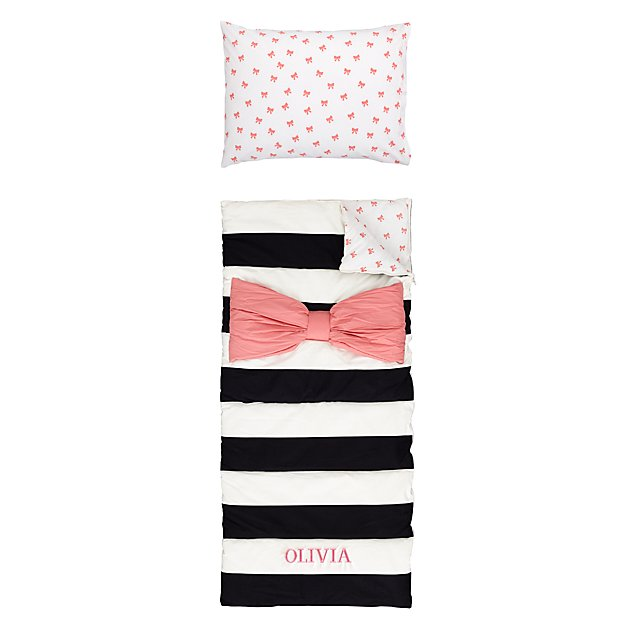 Personalized Candy Bow Sleeping Bag and Pillow Case (Pink)