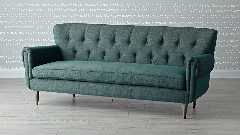 denim chesterfield traditional mid century mid 20th century chesterfield three seat sofa at. Black Bedroom Furniture Sets. Home Design Ideas