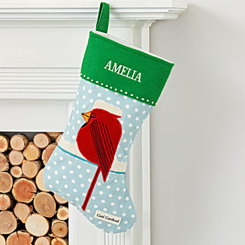 Charley Harper Personalized Cardinal Stocking