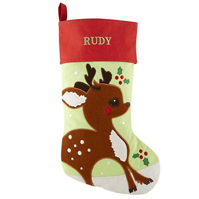 Personalized Deer Holiday Cheer Stocking