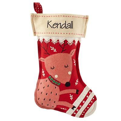 Holly Jolly Personalized Stocking (Deer)