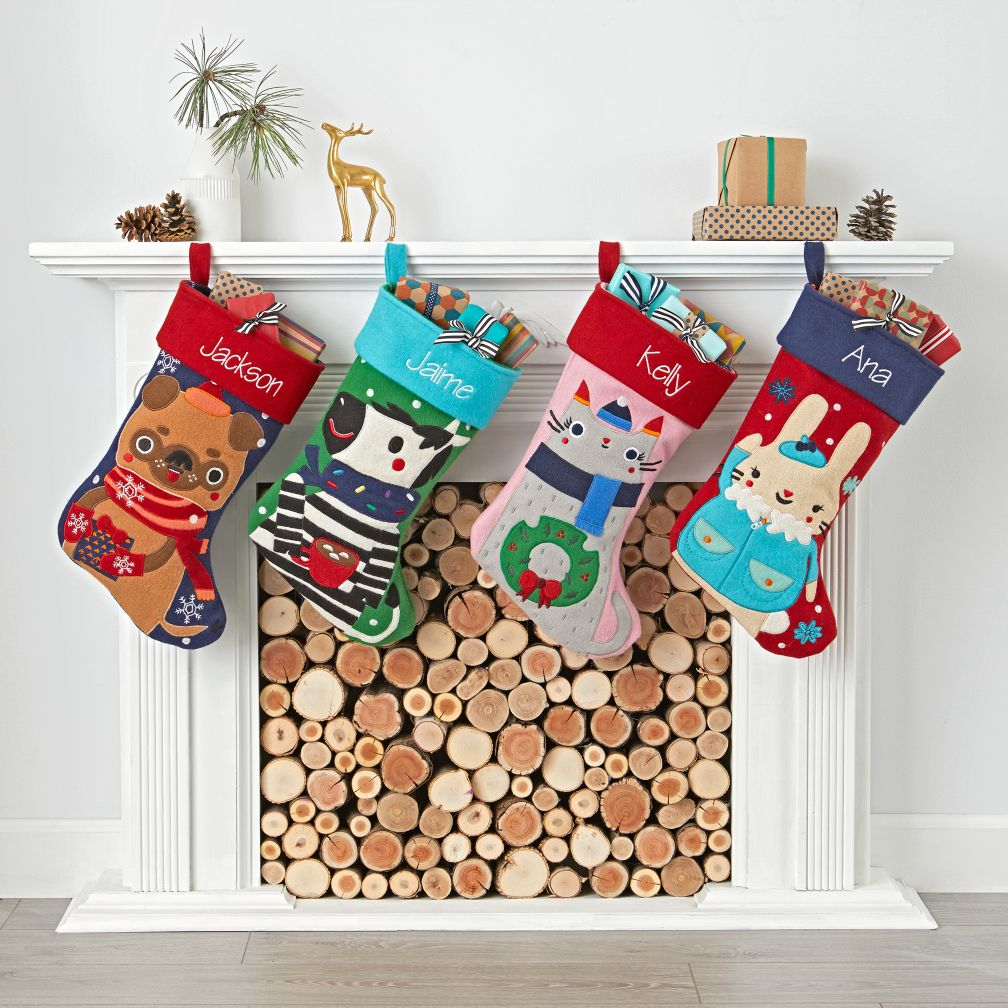 Design Christmas Decorations For Kids christmas decorations for kids the land of nod merry mascot stockings