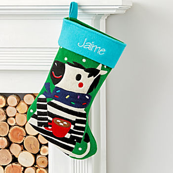 Merry Mascot Personalized Zebra Stocking