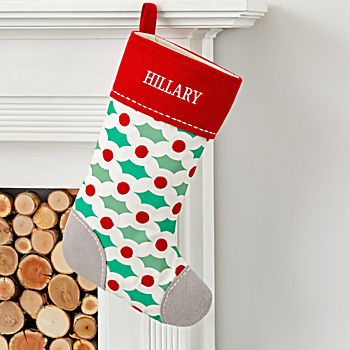 Merry Modern Personalized Holly Stocking