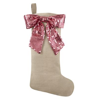 Pink Sequin Bow Stocking