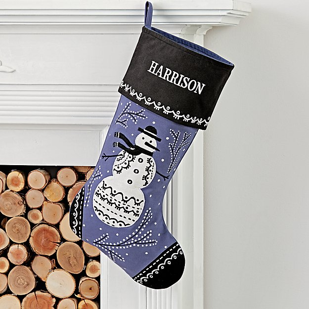Starry Night Personalized Snowman Stocking