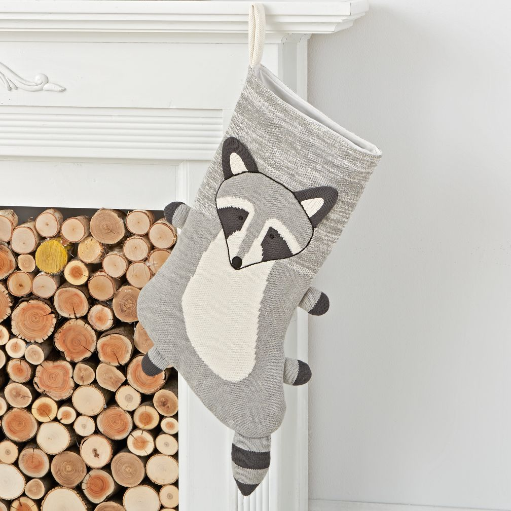 Winter Woodland Raccoon Stocking