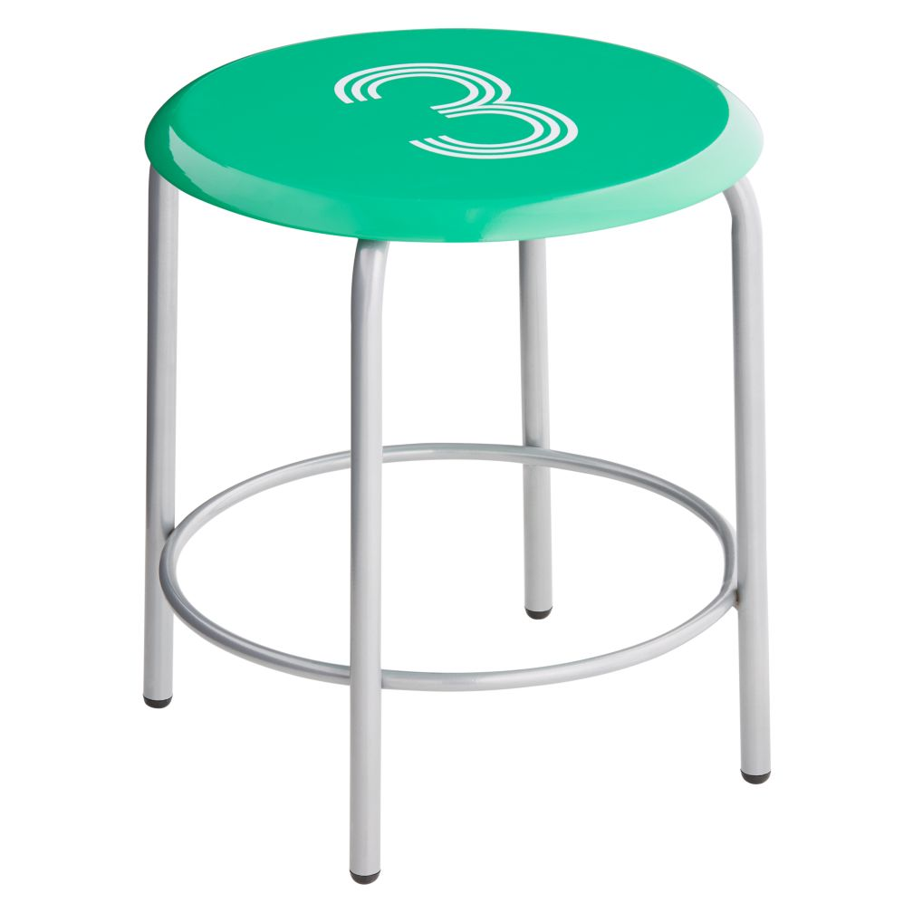 #3 Numeral Metal Stool (Green)