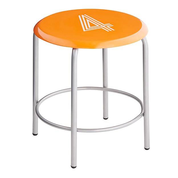 #4 Numeral Metal Stool (Orange)