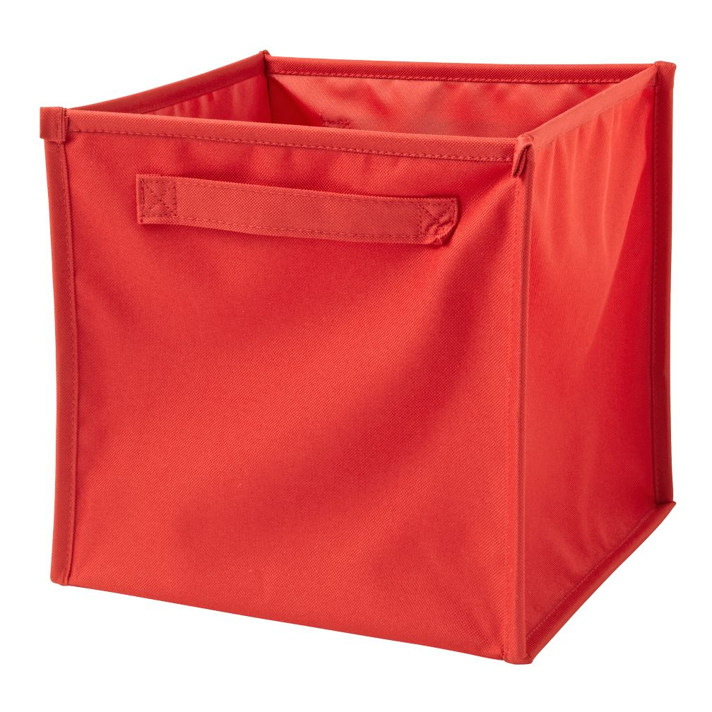 I Think I Canvas Bright Red Cube Bin