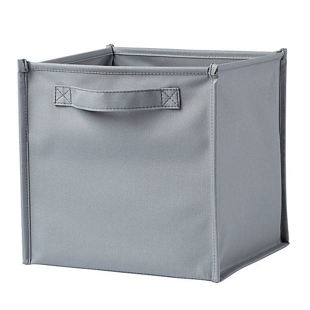 I Think I Canvas Grey Cube Bin