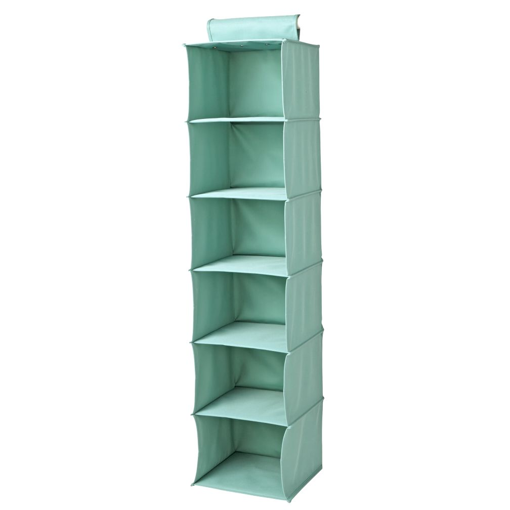 I Think I Canvas Teal Wide Hanging Organizer