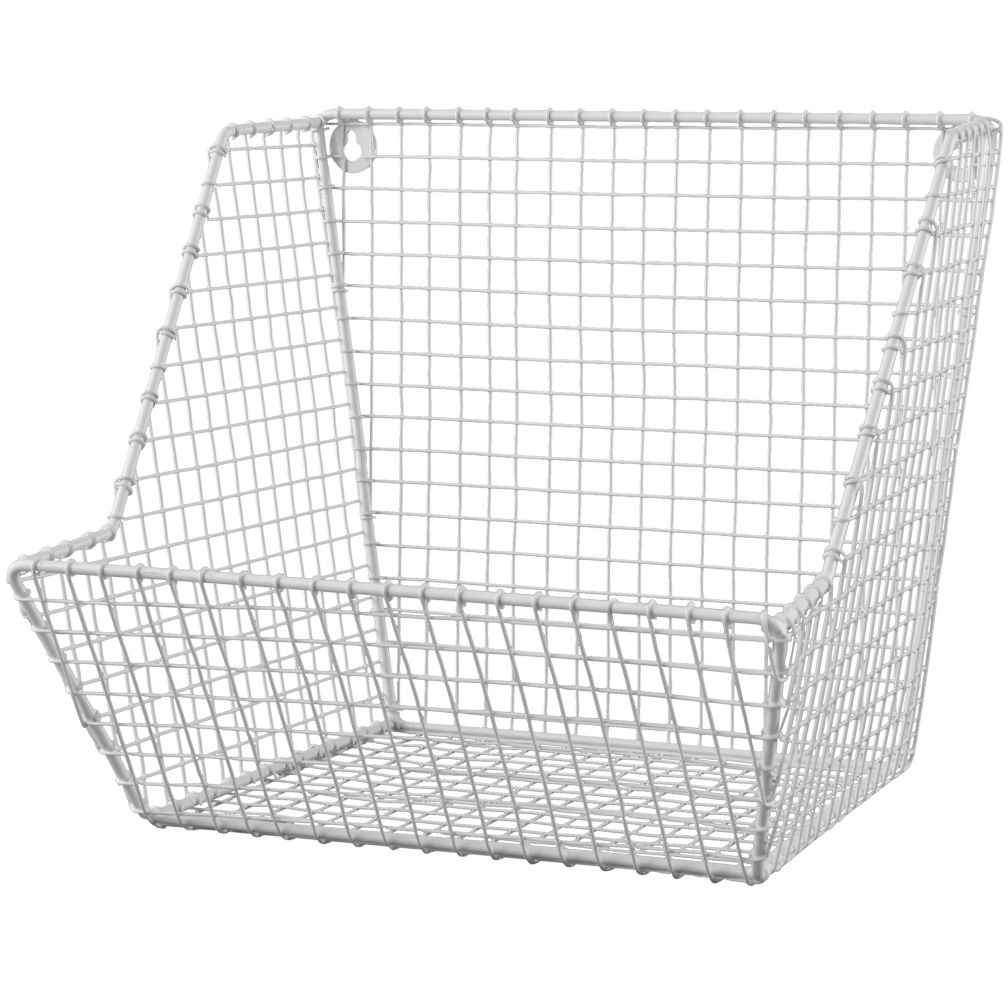 Wall Hanging Wire Baskets down to the wire wall bin (white) | the land of nod