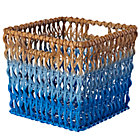 Blue Fade Up Rattan Cube Basket