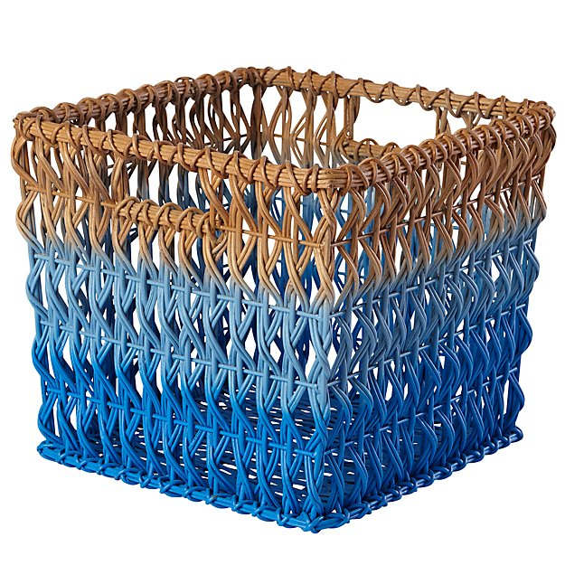 Fade Up Rattan Cube Basket (Blue)