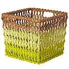 Yellow Fade Up Rattan Cube Basket
