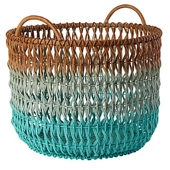 Fade Up Rattan Floor Basket (Aqua)