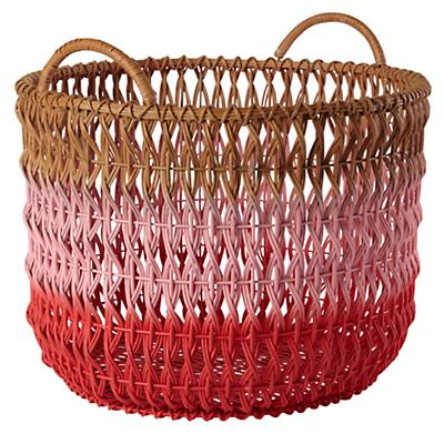 Fade Up Rattan Floor Basket (Pink)