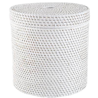 Rattan Round Floor Basket (White)
