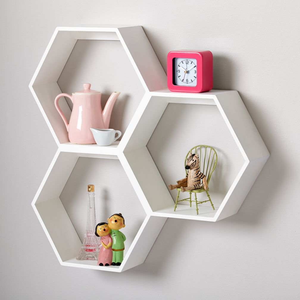 Kids shelves wall cubbies the land of nod honeycomb wall shelf white amipublicfo Image collections