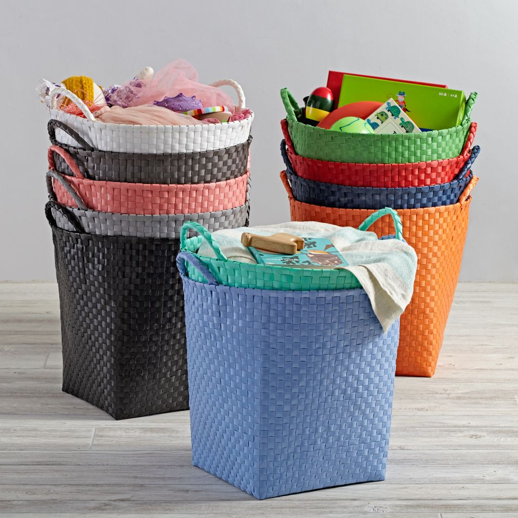 Kidsu0027 Storage Containers: Kids Colorful Woven Floor Storage Baskets | The  Land Of Nod