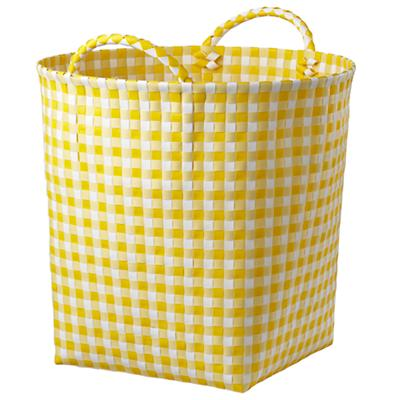 Gingham Floor Bin (Yellow)