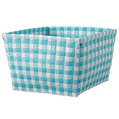 Gingham Shelf Bin (Aqua)