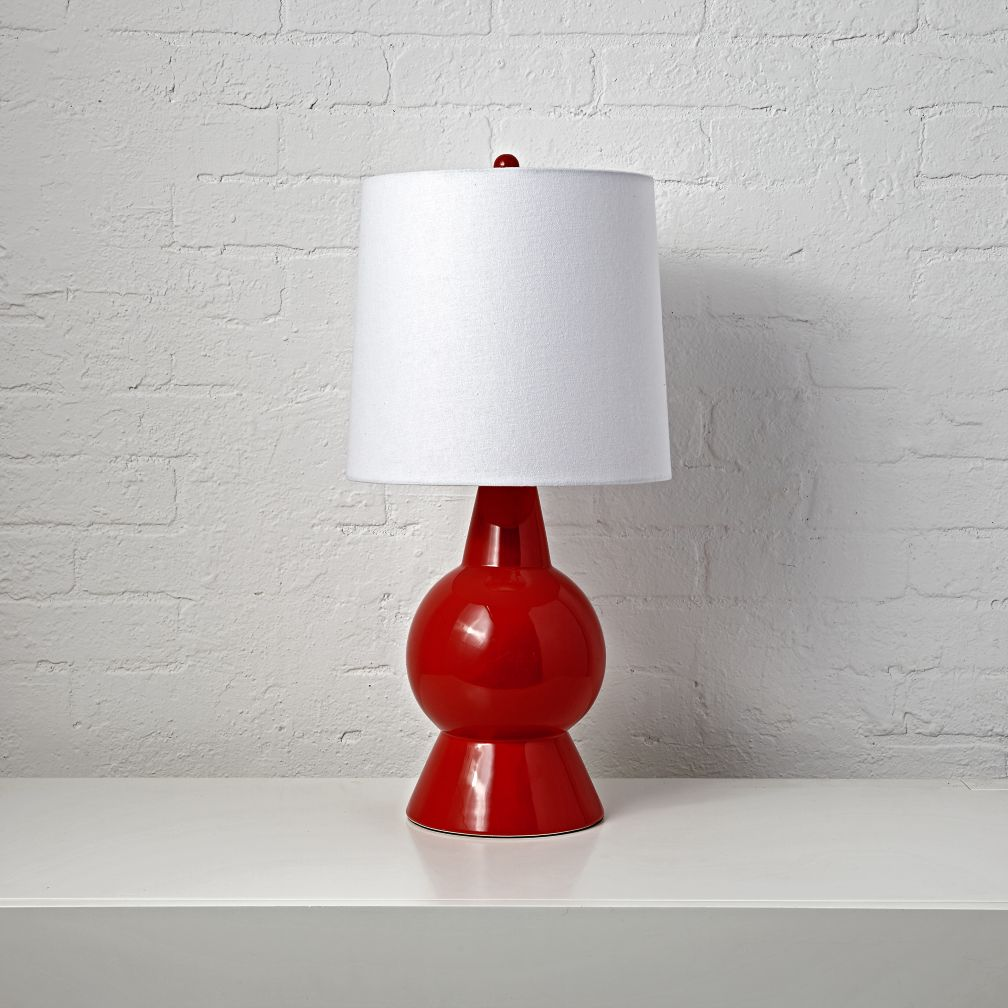 red ceramic table lamp  the land of nod -