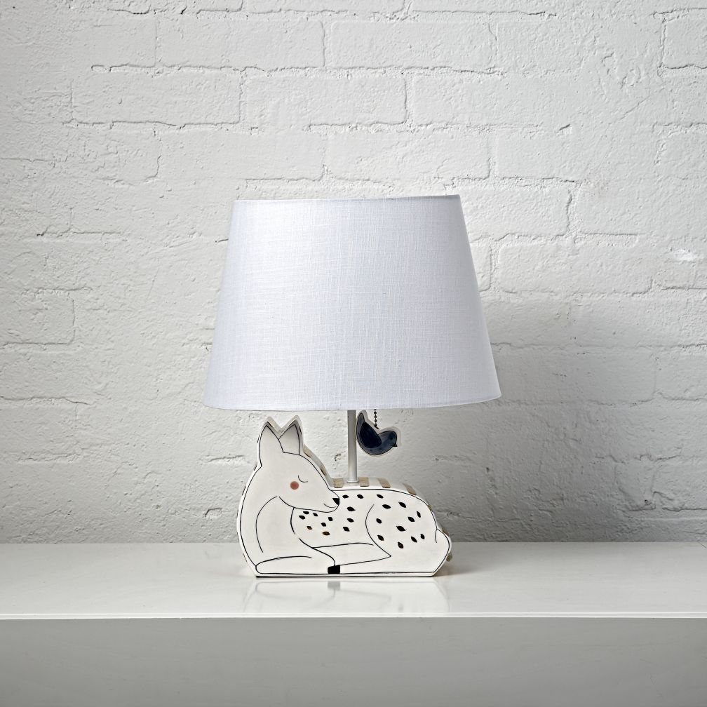 Kids table bedside lamps the land of nod deer table lamp geotapseo Images