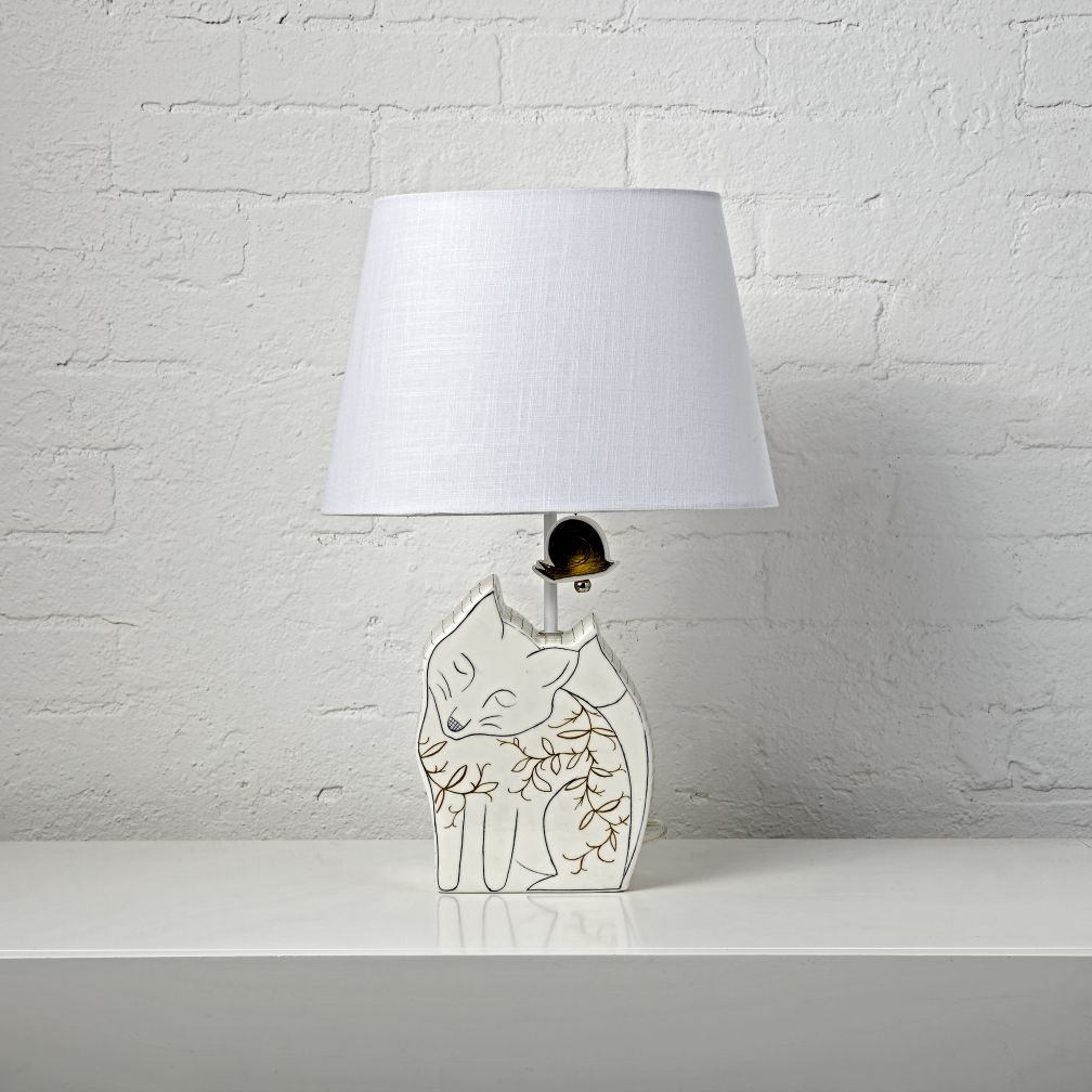 Kids table bedside lamps the land of nod fox table lamp geotapseo Images