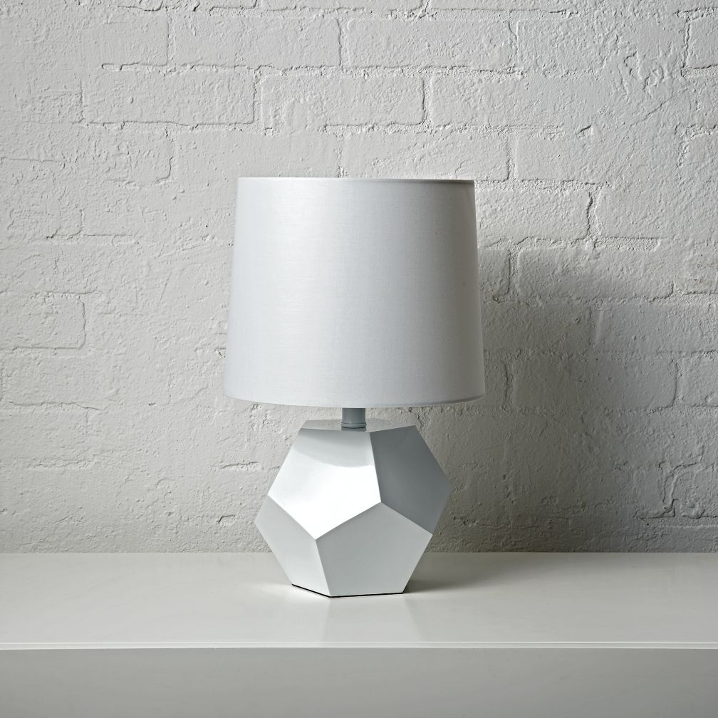 Geometric white table lamp the land of nod geotapseo Images