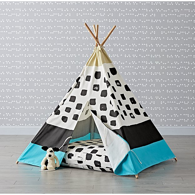 Blue and Black Abstract Teepee and Cushion Set