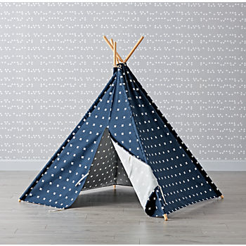 Navy Cross Print Teepee