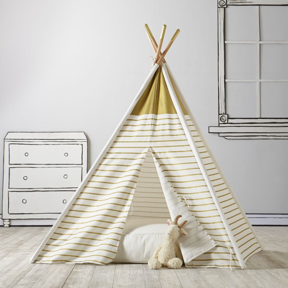 Design Kids Teepee a teepee to call your own gold metallic the land of nod