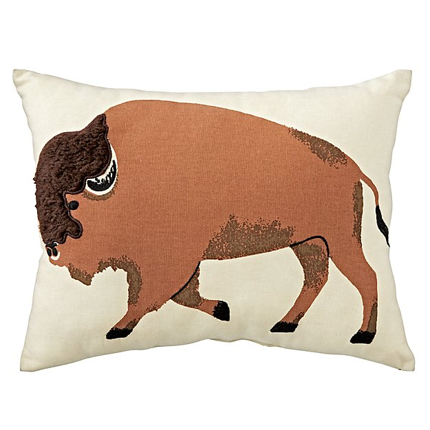 Animal Flannel Bison Throw Pillow