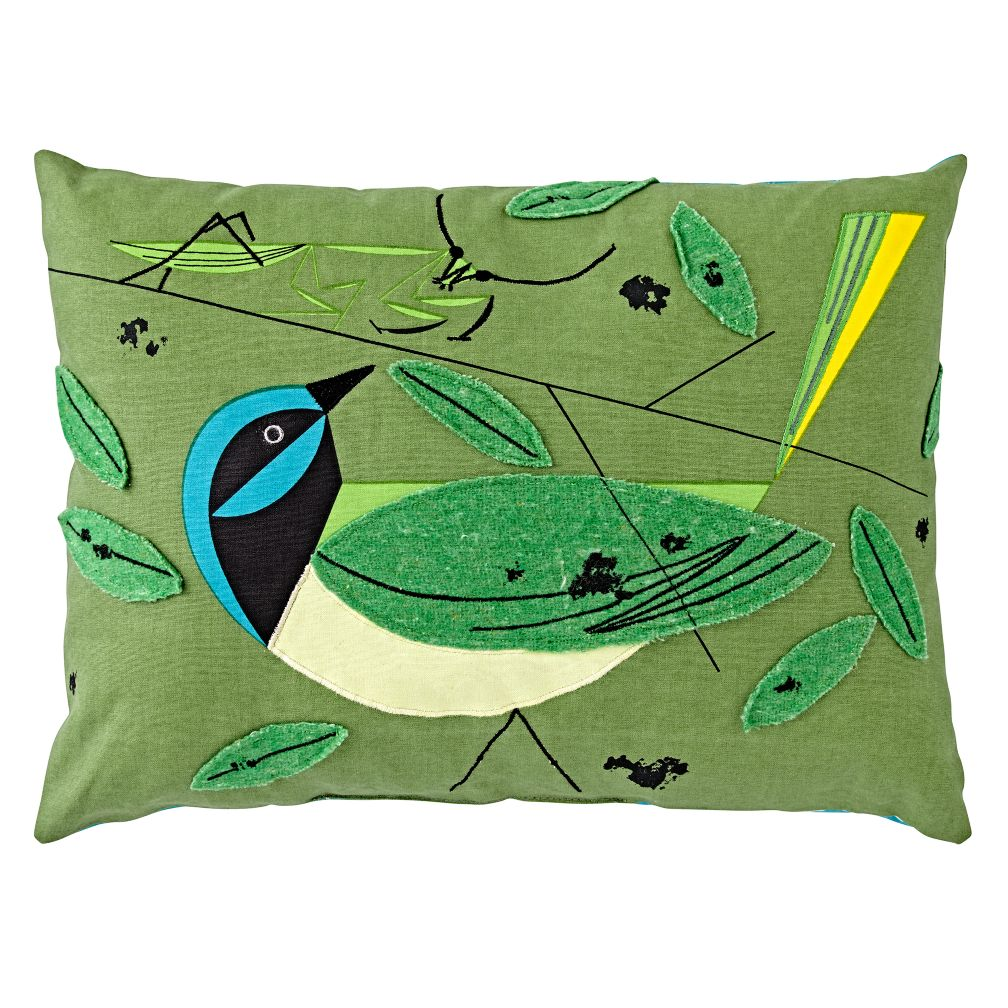 Charley Harper Green Jay Throw Pillow   The Land of Nod