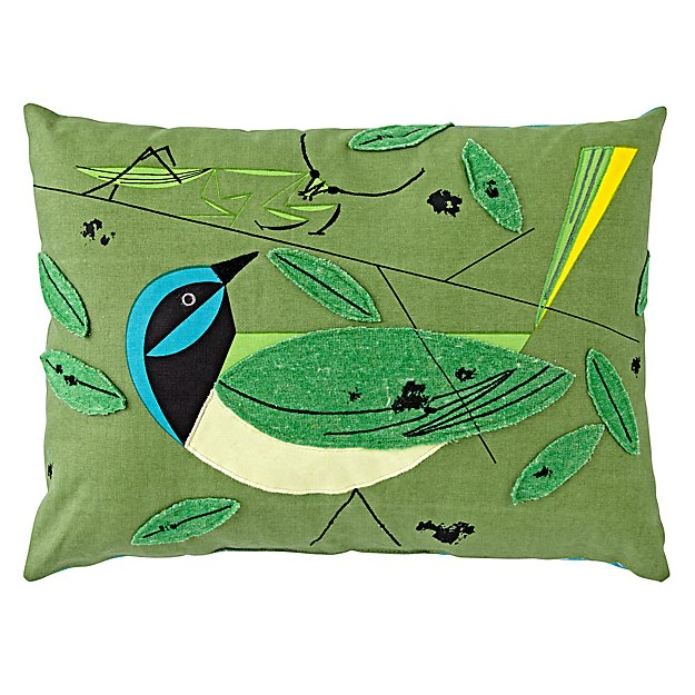 Charley Harper Green Jay Throw Pillow