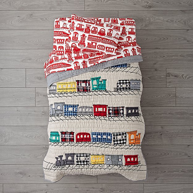 All Aboard Train Toddler Bedding