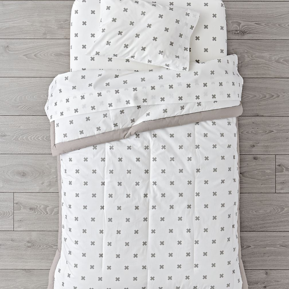 Organic Iconic Grey X Toddler Bedding